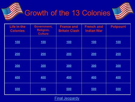 Growth of the 13 Colonies Life in the Colonies Government, Religion, Culture France and Britain Clash French and Indian War Potpourri 100 200 300 400 500.
