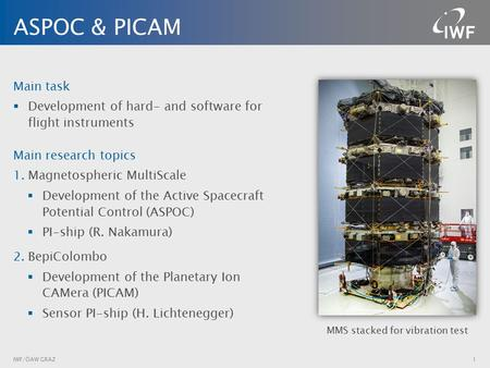 ASPOC & PICAM IWF/ÖAW GRAZ1 Main task  Development of hard- and software for flight instruments Main research topics 1.Magnetospheric MultiScale  Development.