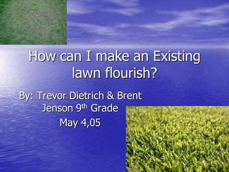How can I make an Existing lawn flourish? By: Trevor Dietrich & Brent Jenson 9 th Grade May 4,05.