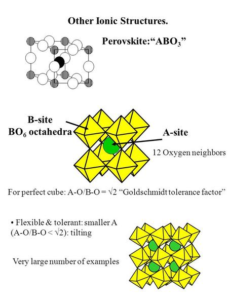 "Other Ionic Structures. Perovskite:""ABO 3 "" B-site BO 6 octahedra A-site 12 Oxygen neighbors For perfect cube: A-O/B-O = √2 ""Goldschmidt tolerance factor"""