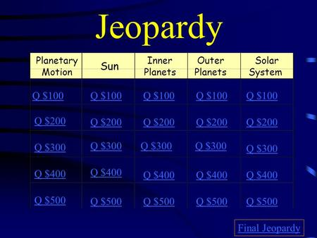 Jeopardy Planetary Motion Sun Inner Planets Outer Planets Solar System Q $100 Q $200 Q $300 Q $400 Q $500 Q $100 Q $200 Q $300 Q $400 Q $500 Final Jeopardy.