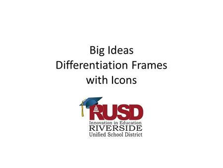 Big Ideas Differentiation Frames with Icons. 1. Number Uses, Classification, and Representation- Numbers can be used for different purposes, and numbers.