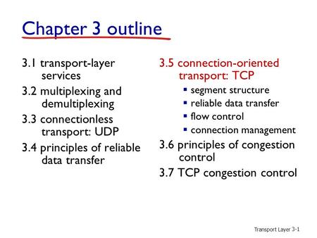 Transport Layer 3-1 Chapter 3 outline 3.1 transport-layer services 3.2 multiplexing and demultiplexing 3.3 connectionless transport: UDP 3.4 principles.