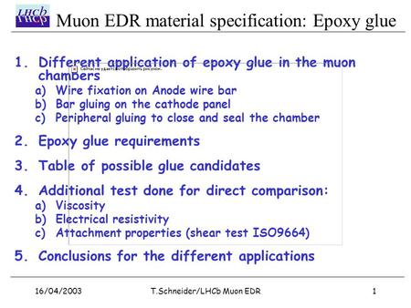 Muon EDR material specification: Epoxy glue 16/04/20031T.Schneider/LHCb Muon EDR 1.Different application of epoxy glue in the muon chambers a) Wire fixation.