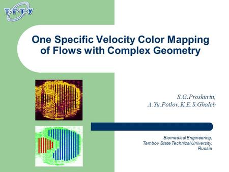 One Specific Velocity Color Mapping of Flows with Complex Geometry Biomedical Engineering, Tambov State Technical University, Russia S.G.Proskurin, A.Yu.Potlov,