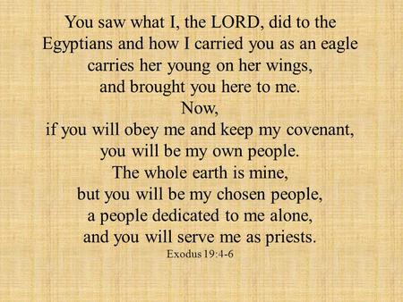 You saw what I, the LORD, did to the Egyptians and how I carried you as an eagle carries her young on her wings, and brought you here to me. Now, if you.