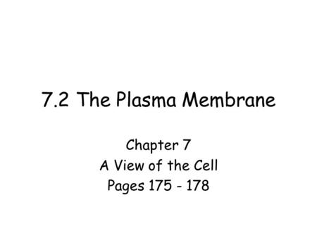 Chapter 7 A View of the Cell Pages