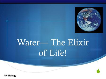 Water— The Elixir of Life!