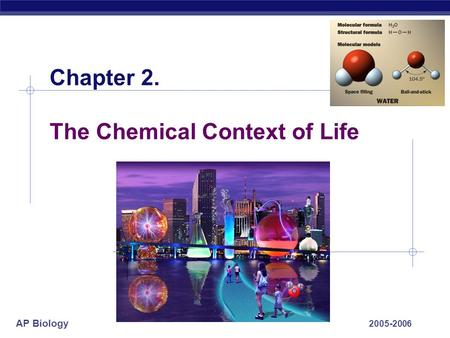 AP Biology 2005-2006 Chapter 2. The Chemical Context of Life.