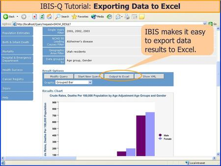 IBIS-Q Tutorial: Exporting Data to Excel IBIS makes it easy to export data results to Excel.