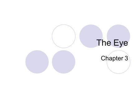 The Eye Chapter 3. The Eye The eye is made up of several important structures (they are so important that you will need to know them for your test). 