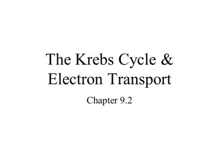 The Krebs Cycle & Electron Transport