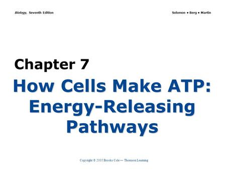 Copyright © 2005 Brooks/Cole — Thomson Learning Biology, Seventh Edition Solomon Berg Martin Chapter 7 How Cells Make ATP: Energy-Releasing Pathways.