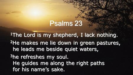 Psalms 23 1 The Lord is my shepherd, I lack nothing. 2 He makes me lie down in green pastures, he leads me beside quiet waters, 3 he refreshes my soul.