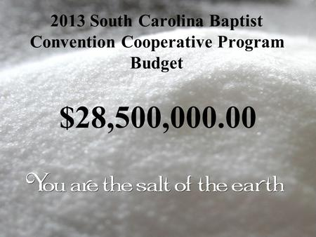 2013 South Carolina Baptist Convention Cooperative Program Budget $28,500,000.00.
