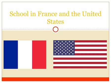 School in France and the United States. Type of Schools ● USA (France) ○ Preschool (école maternelle) Ages 3-4 ○ Elementary School (école primaire) Ages.