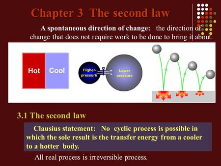 Chapter 3 The second law A spontaneous direction of change: the direction of change that does not require work to be done to bring it about. Clausius statement:
