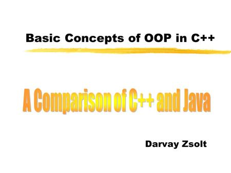 Basic Concepts of OOP in C++ Darvay Zsolt. C++ 2 Outline  The namespace and its members  The using declaration and directive  The address operator.