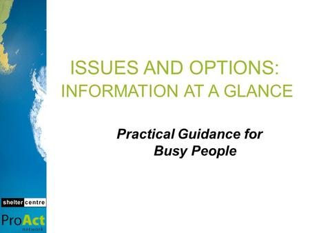 ISSUES AND OPTIONS: INFORMATION AT A GLANCE Practical Guidance for Busy People.