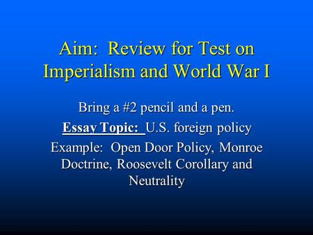 Imperialism Questions and Answers
