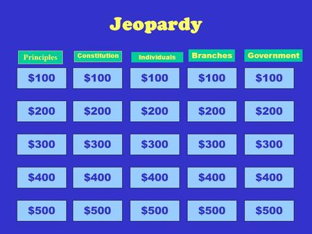 Jeopardy $100 $200 $300 $400 $500 Principles $100 $200 $300 $400 $500 Constitution $100 $200 $300 $400 $500 Individuals $100 $200 $300 $400 $500 Branches.