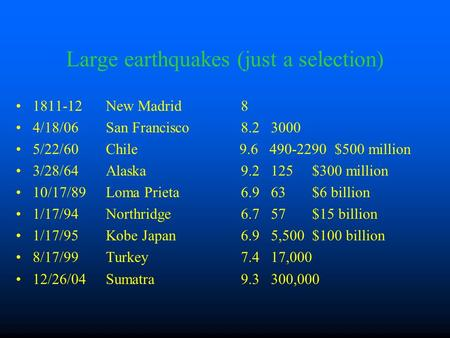 Large earthquakes (just a selection) 1811-12 New Madrid 8 4/18/06 San Francisco 8.2 3000 5/22/60 Chile 9.6 490-2290 $500 million 3/28/64 Alaska 9.2 125.