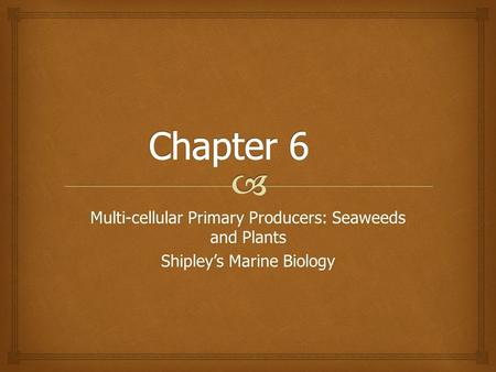 Chapter 6 Multi-cellular Primary Producers: Seaweeds and Plants