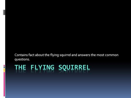 Contains fact about the flying squirrel and answers the most common questions.