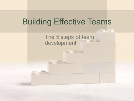 Building Effective Teams The 5 steps of team development.