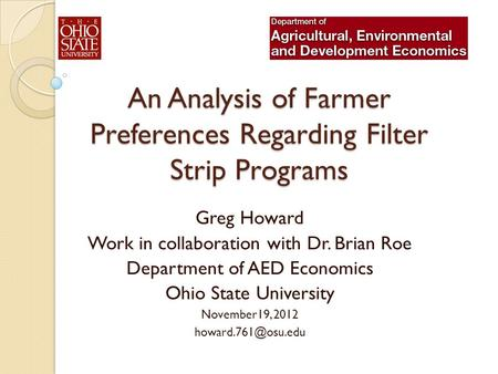 An Analysis of Farmer Preferences Regarding Filter Strip Programs