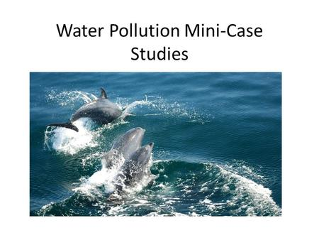 Water Pollution Mini-Case Studies. Topics Group 1: Exxon Valdez oil spill Group 2: BP Gulf oil spill Group 3: India's Ganges River Group 4: Great Pacific.