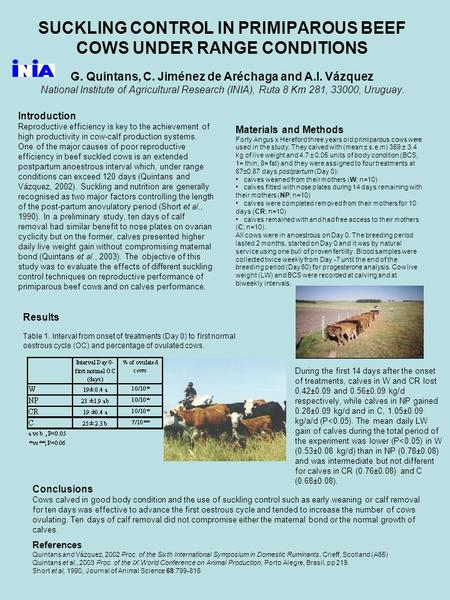SUCKLING CONTROL IN PRIMIPAROUS BEEF COWS UNDER RANGE CONDITIONS G. Quintans, C. Jiménez de Aréchaga and A.I. Vázquez National Institute of Agricultural.
