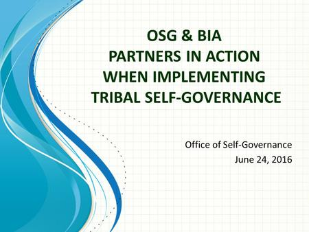 OSG & BIA PARTNERS IN ACTION WHEN IMPLEMENTING TRIBAL SELF-GOVERNANCE Office of Self-Governance June 24, 2016.