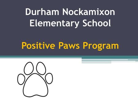Durham Nockamixon Elementary School Positive Paws Program.