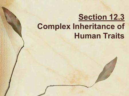 Section 12.3 Complex Inheritance of Human Traits