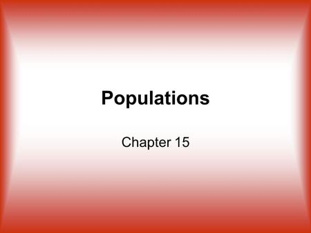 Populations Chapter 15. Definition Population – Example – individuals of the same species that live in the same area at the same time the human population.