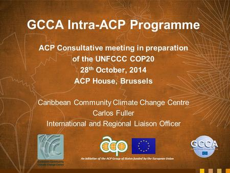 An initiative of the ACP Group of States funded by the European Union GCCA Intra-ACP Programme ACP Consultative meeting in preparation of the UNFCCC COP20.