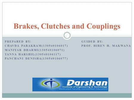 Brakes, Clutches and Couplings