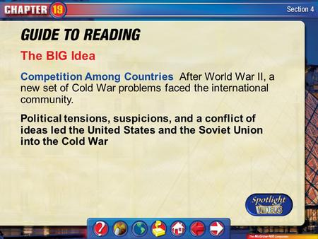Section 4-Main Idea The BIG Idea Competition Among Countries After World War II, a new set of Cold War problems faced the international community. Political.