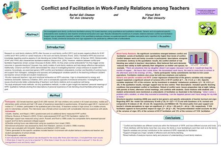 Conflict and Facilitation in Work-Family Relations among Teachers Rachel Gali Cinamon and Yisrael Rich Rachel Gali Cinamon and Yisrael Rich Tel Aviv University.