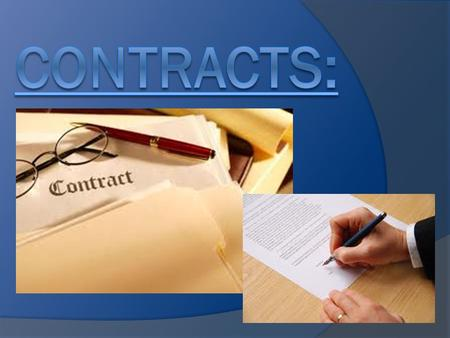 Do You Know Your Rights - Starter Definition of a Contract:  Definition:  A legally binding agreement, giving rights and obligations to the people.