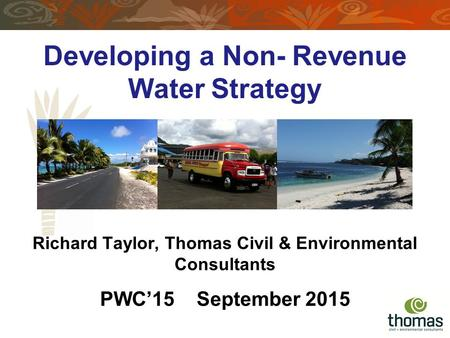 Developing a Non- Revenue Water Strategy