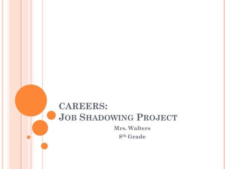 CAREERS : J OB S HADOWING P ROJECT Mrs. Walters 8 th Grade.