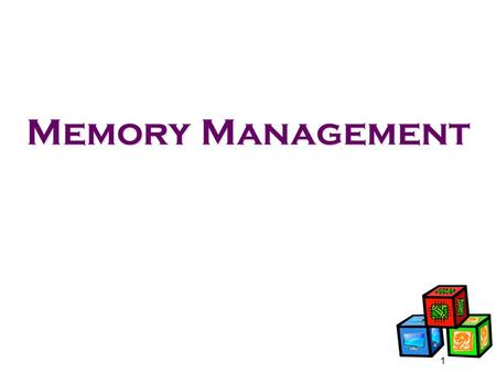 Memory Management 1. Background Programs must be brought (from disk) into memory for them to be run Main memory and registers are only storage CPU can.