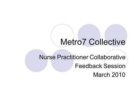 Metro7 Collective Nurse Practitioner Collaborative Feedback Session March 2010.