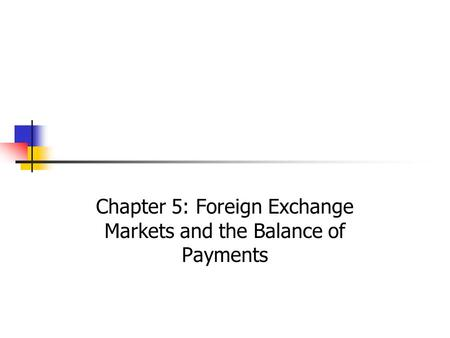 Chapter 5: Foreign Exchange Markets and the Balance of Payments
