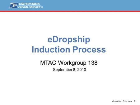 EInduction Overview 1 eDropship Induction Process September 8, 2010 MTAC Workgroup 138.
