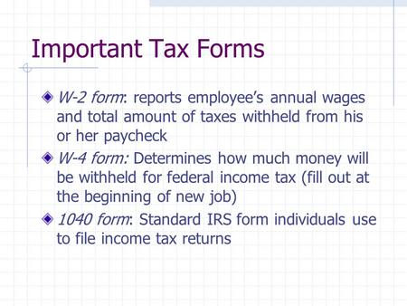 This Lesson Covers The W Irs Tax Form The W Is An Important