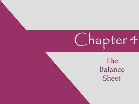Chapter 4 The Balance Sheet. Individual Balance Sheet Accounts.