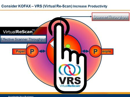 0 Paper rocess Scanner Throughput P eople PP P Effective Scanner Throughput Consider KOFAX – VRS (Virtual Re-Scan) Increase Productivity.
